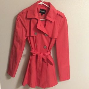Bright coral trench coat